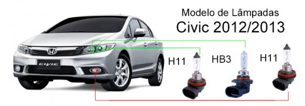 Modelos-de-lâmpadas-do-Civic-2012-2013