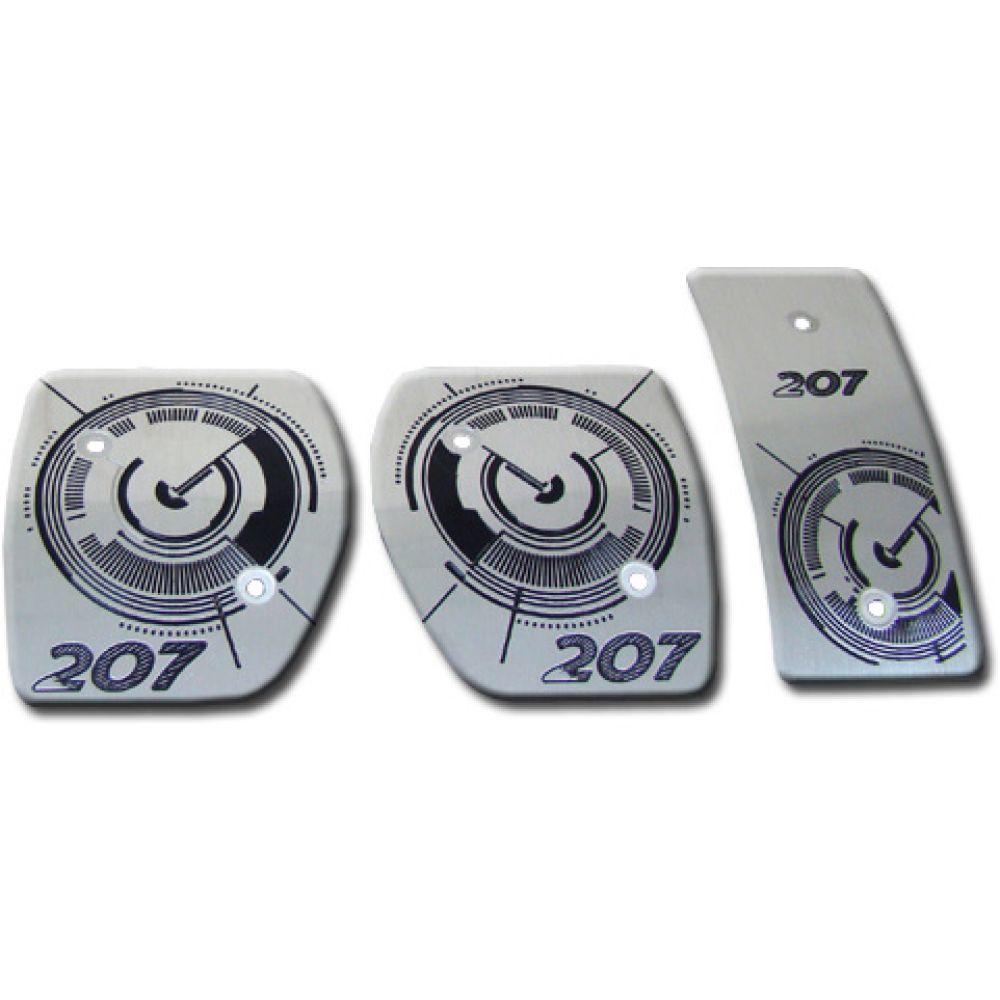 Pedaleira Peugeot 207 Manual em Aço Inox - Contagiros Preto